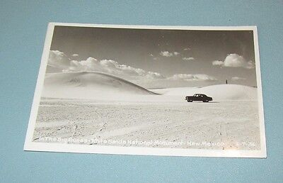 1953 Car At White Sands National Monument New Mexico Rppc Real Photo Postcard