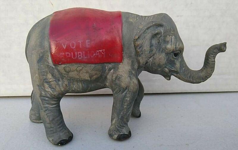 Vintage VOTE REPUBLICAN Light Weight Metal Elephant Still Bank