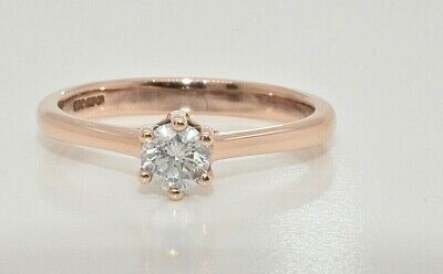 9ct rose gold 0.30ct diamond solitaire ring size N certificated