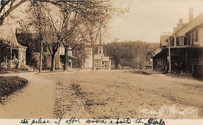 STOWE, VT ~ MAIN STREET, STORES, CHURCH, HOUSTON REAL PHOTO PC ~ c 1910-20