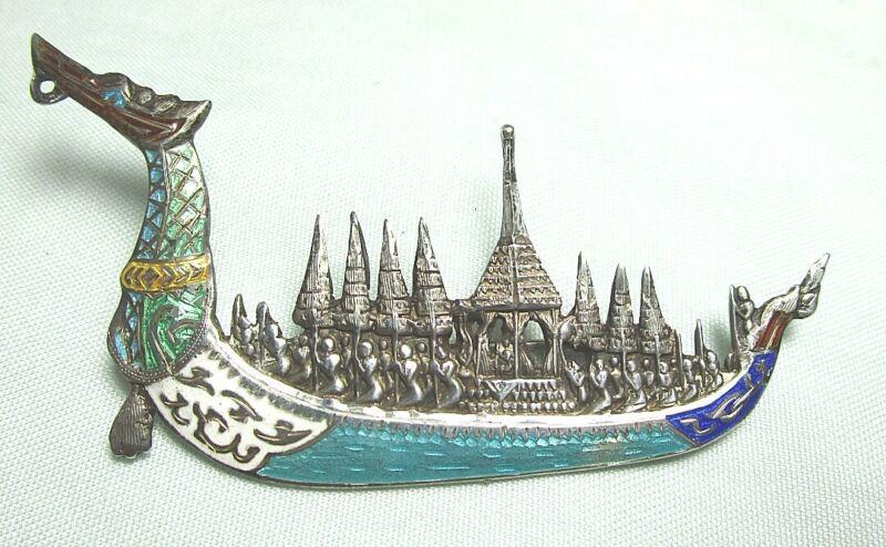 "SIAM Sterling Silver Enamel Dragon Boat Pin 10.2 grams  3"""