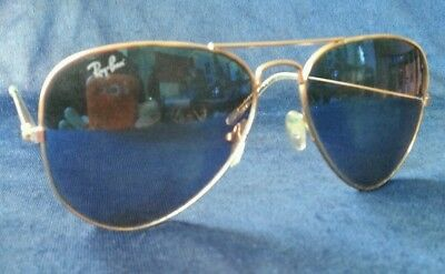 Ray Ban Aviators gold frames mirrored lenses colored reflective (Coloured Mirrored Aviators)