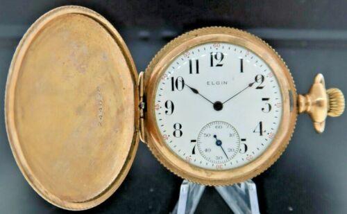 Antique 6 Size Elgin 7J Manual Wind Hunter Pocket Watch Grade 286 Gold Filled