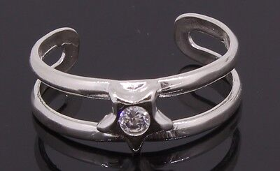 Silver Star Shaped Adjustable Toe Ring With CZ Stone Handmade