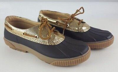 NEW Michael Kors Hyde Duck Shoes Rain Boots Womens 6 Brown w/ Metallic Gold NEW