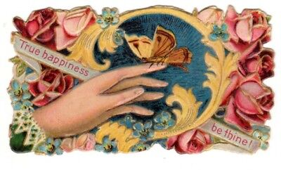 Vintage Beautiful Victorian name card cover Butterfly True Happiness be Thine