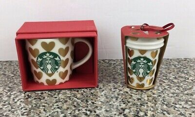 Starbucks Coffee Demitasse Cup 2015 Gold Hearts Espresso mug 3oz And Ornament