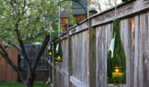 Single Green Wine Bottle Hanging Lantern, Lighted Wine Bottles