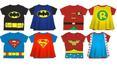 Robin T Shirt With Cape (BATMAN ROBIN SUPERMAN WONDER WOMAN Toddler Costume t-shirt with Cape)