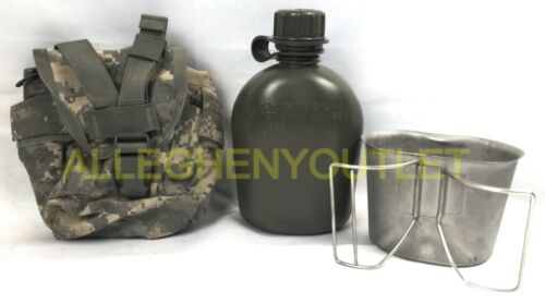 US Military 3 Pc Set 1QT OD Canteen w MOLLE ACU Pouch Cover & NEW Stainless Cup