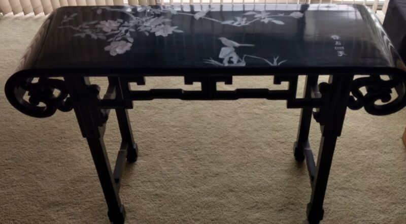 Vintage Chinoiserie Chinese Altar Table 👉  Beautiful Carved Wood Laquer Finish