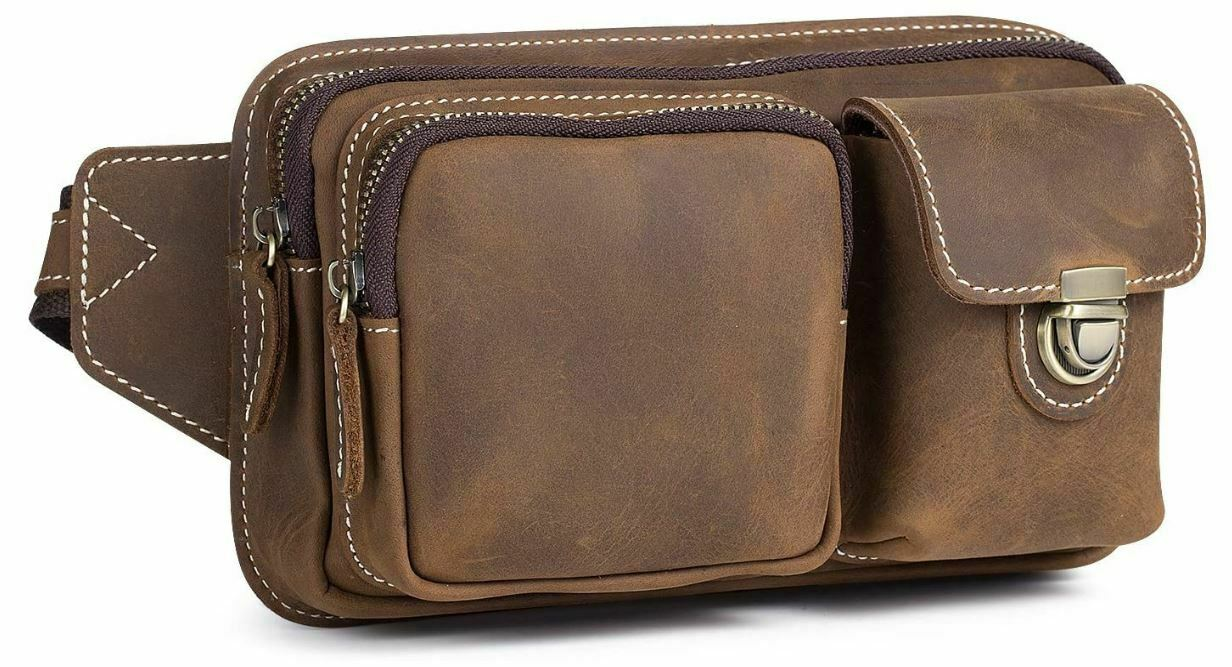NEW Kattee Genuine Leather Multi Pockets Waist Hip Bag Fanny