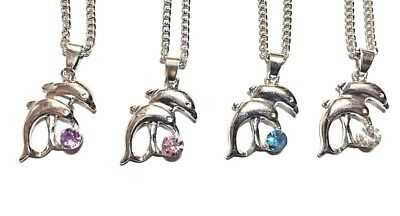 DOLPHIN NECKLACE SILVER PLATED CUBIC ZIRCONIA RHINESTONE CRYSTAL PENDANT #KC93 (Dolphin Necklaces)