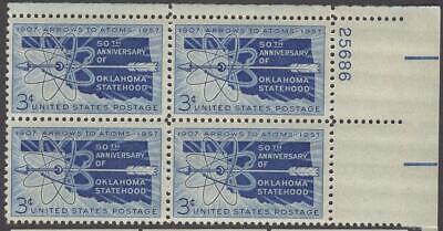 Scott # 1092 - US Plate Block Of 4 - Oklahoma Statehood - MNH -1957