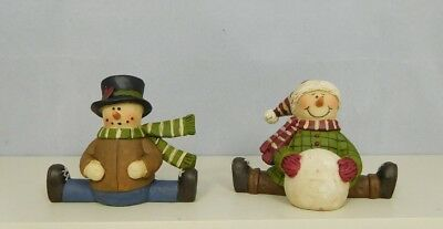 Set of 2 mini sitting snowman one top hat,one snowball-New Blossom Bucket#19626A - Mini Snowman Hats