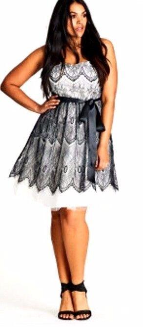 CITY CHIC dress plus sz S / 16 Lace Bradshaw Dress sexy after-5 day/night NWT
