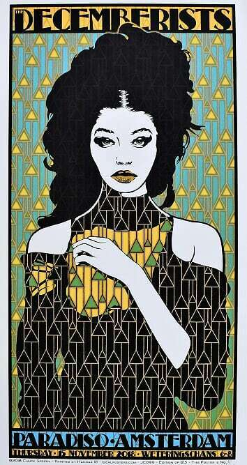 The Decemberists Concert Poster Chuck Sperry A/P Amsterdam 2018
