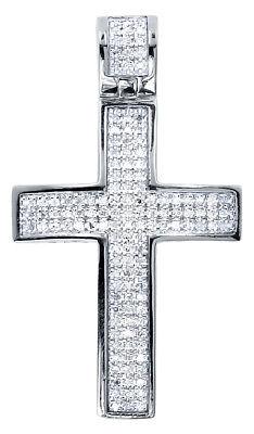 White Gold Finish Men Ladies Round Pave Diamond Mini Cross Pendant Charm .33 ct White Gold Round Diamond Cross