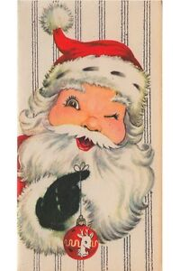 Vintage Greeting Card Christmas Winking Santa Claus UNUSED L612