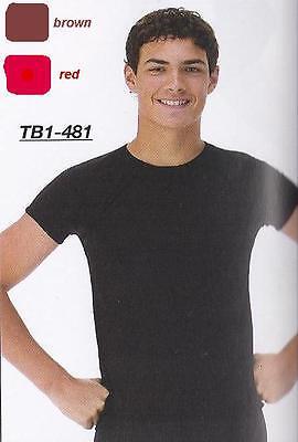 Reduced Matte Jersey Mens Boys Stretch Shirt Dance Costume Ballet Red & Black - Boys Ballet Costumes
