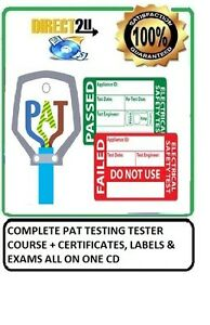 COMPLETE PAT TESTING TESTER COURSE + CERTIFICATES, LABELS & EXAMS ALL ON ONE CD