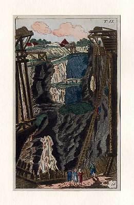 Bergbau-Bergwesen-Geologie altkol. Kupferstich 1800