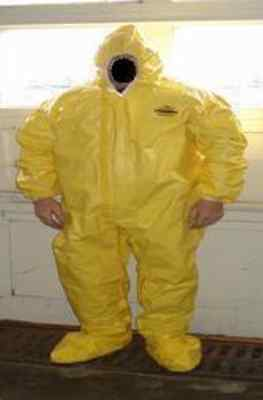 case of 6 LAKELAND TYCHEM XL COVERALLS YELLOW HOOD BOOTS DUPONT TYVEK QC SUIT