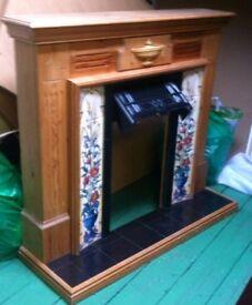 Heating vintage oakwood fireplace