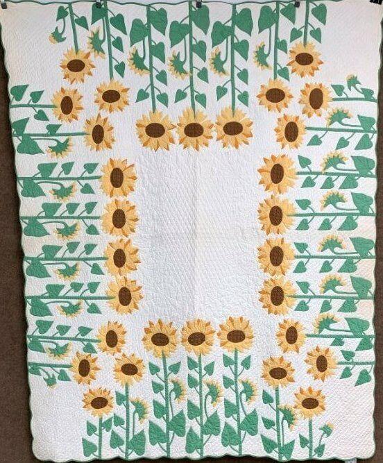 STUNNING Rare! c 1930s Sunflower APPLIQUE Vintage Quilt Marie Webster