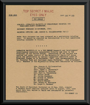 1952 Majestic 12 UFO Member List Document Reprint On 65 Year Old Paper *157