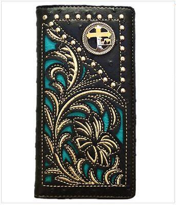 Men Wallet Western Bifold Check Book W052-30 Cross Praying Cowboy Ostrich Black