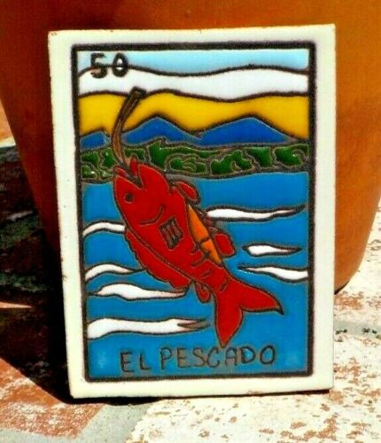 EL PESCADO FISH  LOTERIA RED CLAY TILE 3 IN x 4 IN  MEXICO WITH FREE SHIPPING