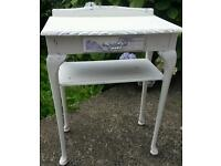 Stunning Small Shabby Chic White Distressed Hall Table Silver Handle Furniture