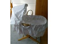 Good condition Moses basket, with stand and all covers