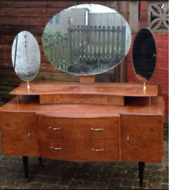 Antique Vintage Original Walnut Dressing Table With Mirrors