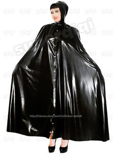 Latex-rubber-Robe-0-45mm-dress-catsuit-suit-cape-hoody-goth-mantle-cloak-poncho