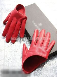 Sex-and-the-City-Womens-5-finger-half-palm-Punk-Red-Faux-Leather-Gloves-Lined