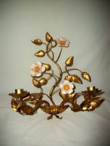 Italian Tole Gilt Wild Roses Candle Sconce Original Mid Century Regency