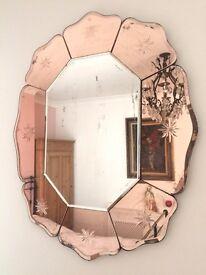 VINTAGE ART DECO 'PETAL' PEACH GLASS MIRROR