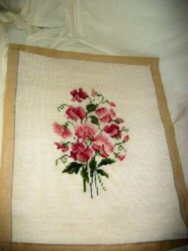 VINTAGE PINK FLORAL NEEDLEPOINT COMPLETED PILLOW TOP FRAME MID CENTURY