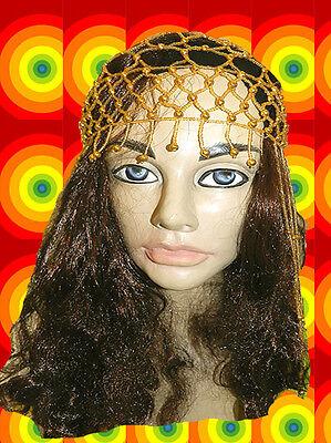 A48✪ 60er 70er Jahre Revival  Haarnetz Perlen Fransen Mama Mia gold