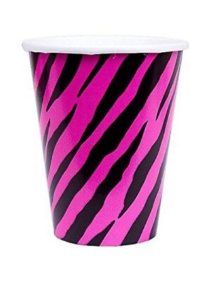 Pink Cups 8 Paper Cups Zebra Black and Pink Girls Party Supplies](Pink Cups)