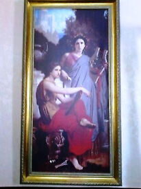 Large Framed Giclee Traditional CANVAS PRINT - Bouguereau - 38inches x 20 inches