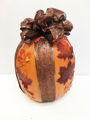 New Autumn Harvest Halloween Pumpkin With Fall Leaves & Sparkle Bow - Pumpkin With Leaves
