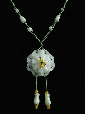 Hand-knotted Natural Jadeite Jade Gourd Beaded 2-layered Flower Pendant Necklace ()