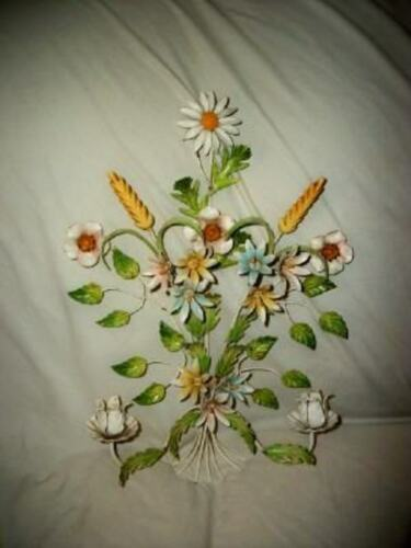 ITALIAN TOLE FLORAL CANDLE SCONCE VINTAGE Cottage Chic Shabby Great Color