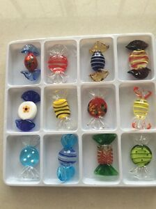 12pcs Vintage Murano Glass Sweets Wedding Xmas Party Candy  Decorations Gift