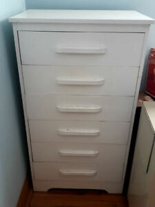 Vintage 1960's Solid Wood Bureau High Boy Chest of Drawers