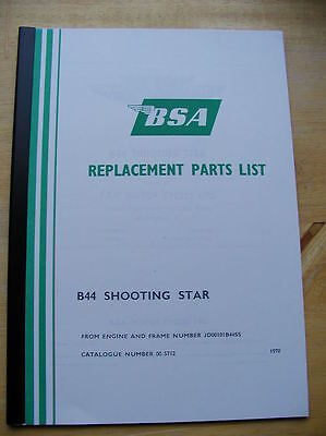 new BSA B44 Shooting Star1970 SPARE PARTS BOOK reference manual pt no 00-5712