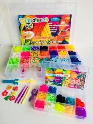SUPER ANGEBOT Loom Bands ca.4200 Stk+ Kleine Box 600 bunte Gummibänder Set  NEU